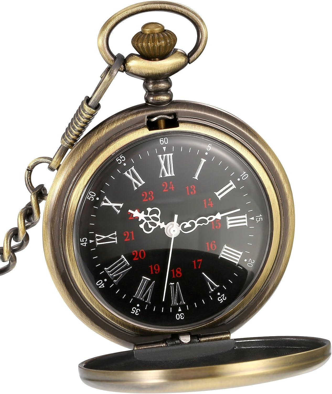 Reloj de Bolsillo de Cuarzo Antiguo Liso con Cadena de Acero (Bronce): Amazon.es: Relojes
