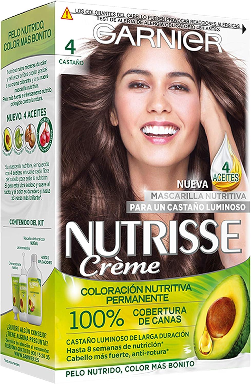 Garnier Nutrisse Creme coloración permanente con mascarilla nutritiva de cuatro aceites - Castaño 4