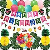 THAWAY Hawaiian Flamingo Pineapple Decor Luau Party Supplies Birthday Decorations includes Birthday Banner, Artificial Tropic