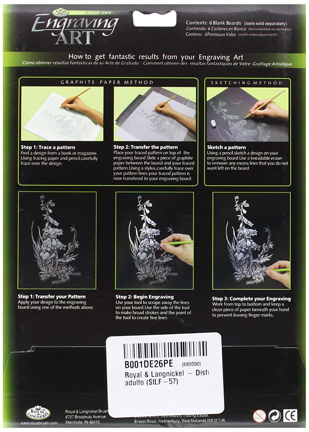 ROYAL BRUSH Foil Engraving Art Blank Boards, 5 by 7-Inch, Rainbow, 6-Pack BEF57-RAIN