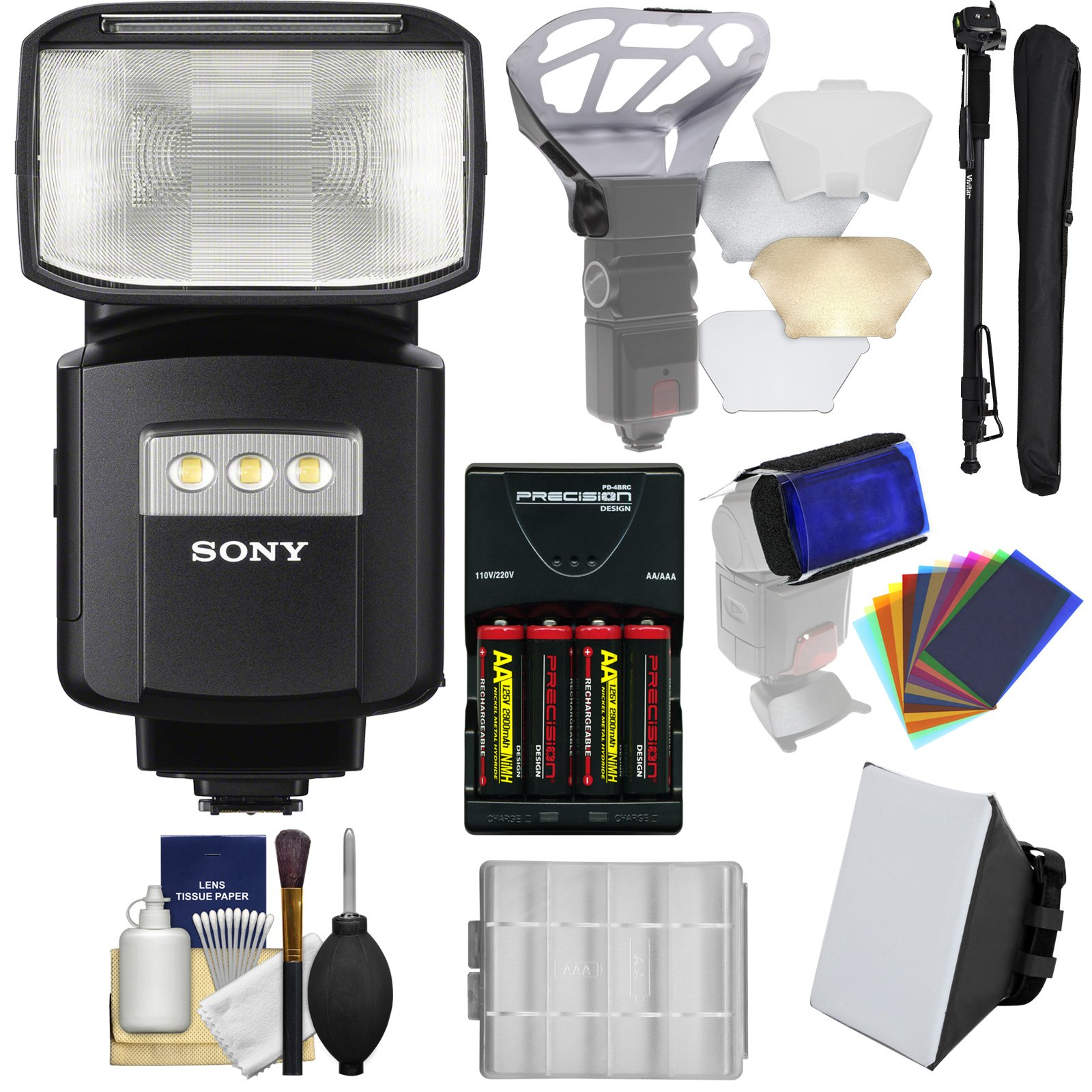 Sony Alpha HVL-F60RM Radio-Control Wireless Flash with Video Light + Soft Box + Bouncer + Color Gels + Batteries & Charger + Monopod Kit