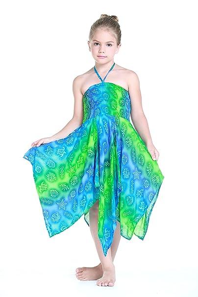 Niña gitano Botón desigual Hawaiian Luau vestido en Criatura del Mar Verde y Azul 12