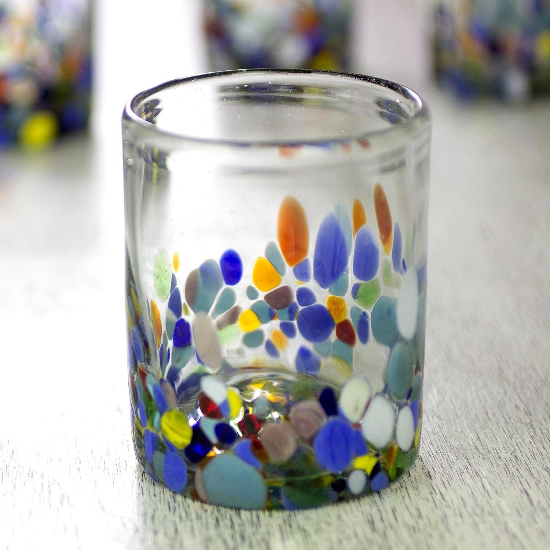 10 oz 252662 set of 6 10 oz set of 6 Confetti Festival NOVICA Hand Blown Multicolor Recycled Glass Tumbler Glasses /'Confetti Festival/'