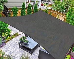 AsterOutdoor Sun Shade Sail Rectangle 6' x 10' UV Block Canopy for Patio Backyard Lawn Garden Outdoor Activities, Graphite