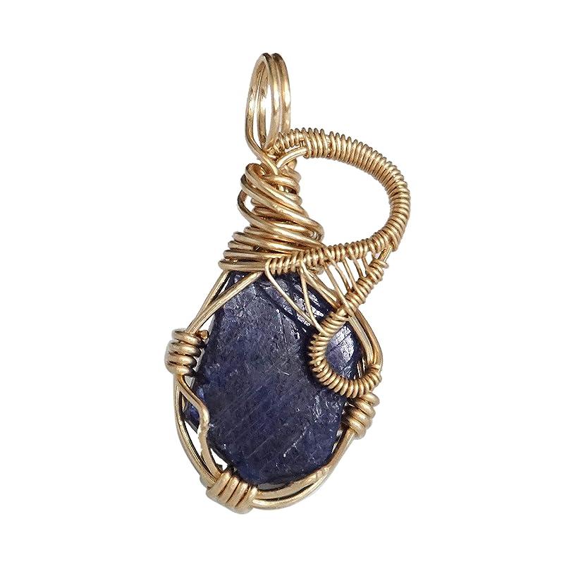 UK seller September birthstone gift for her Sapphire necklace Dark blue rustic gemstone pendant
