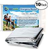 Zenwells Emergency Blanket Pack of 10 - Mylar Thermal Solar Blankets for Maximum Protection - Best for Your Survival Kit, Winter Car Kits, Outdoors or First Aid