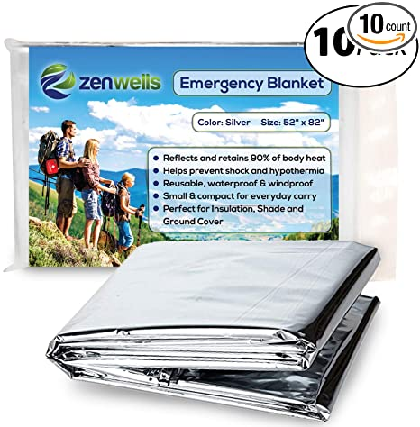 124d4a72ee Zenwells Emergency Blankets Pack of 10 - Space Blanket Designed for NASA