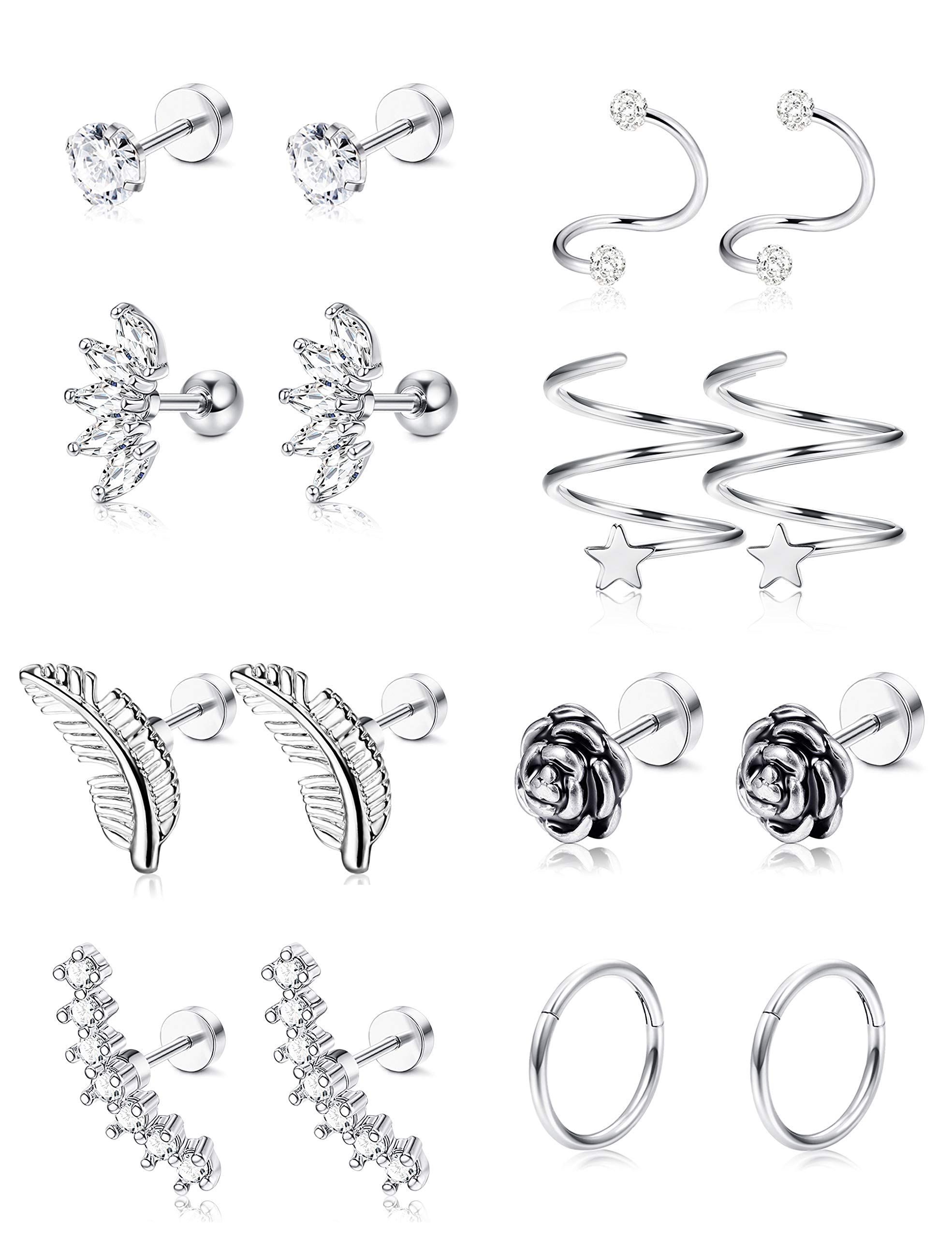 LOYALLOOK 8 Pairs 16G Stainless Steel Flower Feather Cartilage Cubic Zirconia Inlaid Helix Stud Earrings Tragus Piercing Jewelry for Men Women