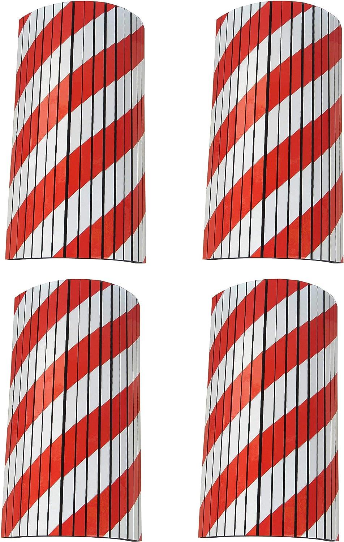 SNS SAFETY LTD Protección Garaje Adaptable, Tiras de Espuma Adhesivas con Cortes, para cualquier Esquina y Columna Redonda, 44x25x2 cm, 4 Piezas (Rojo Blanco)