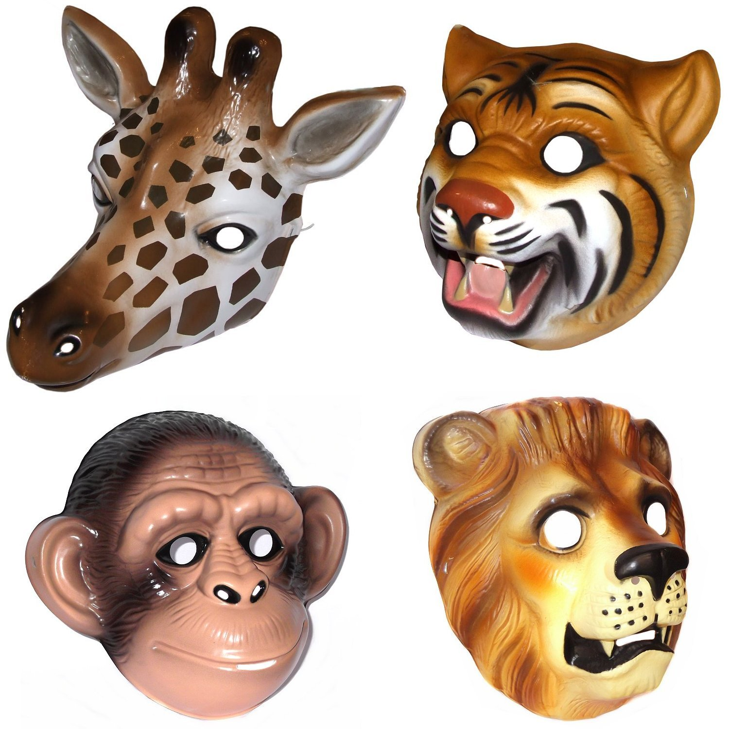 4 plastic jungle safari animal face masks giraffe chimp lion