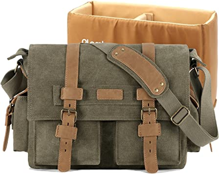 Plambag Large PU Canvas Messenger Bag 16.5 Inch Laptop Shoulder Bag Gray