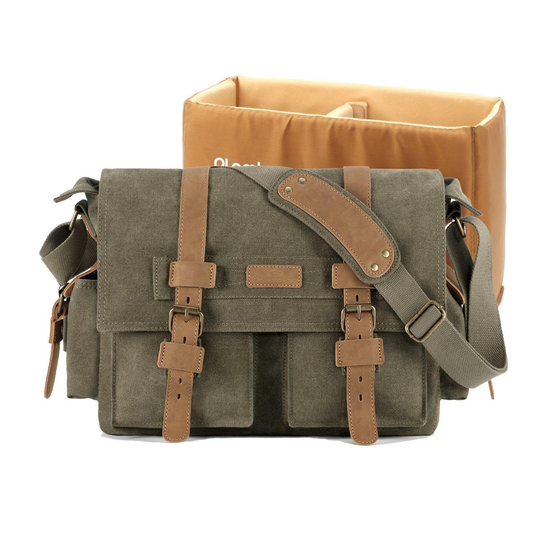 Plambag DSLR Camera Shoulder Bag Canvas PU Leather Messenger Bag(Army Green)