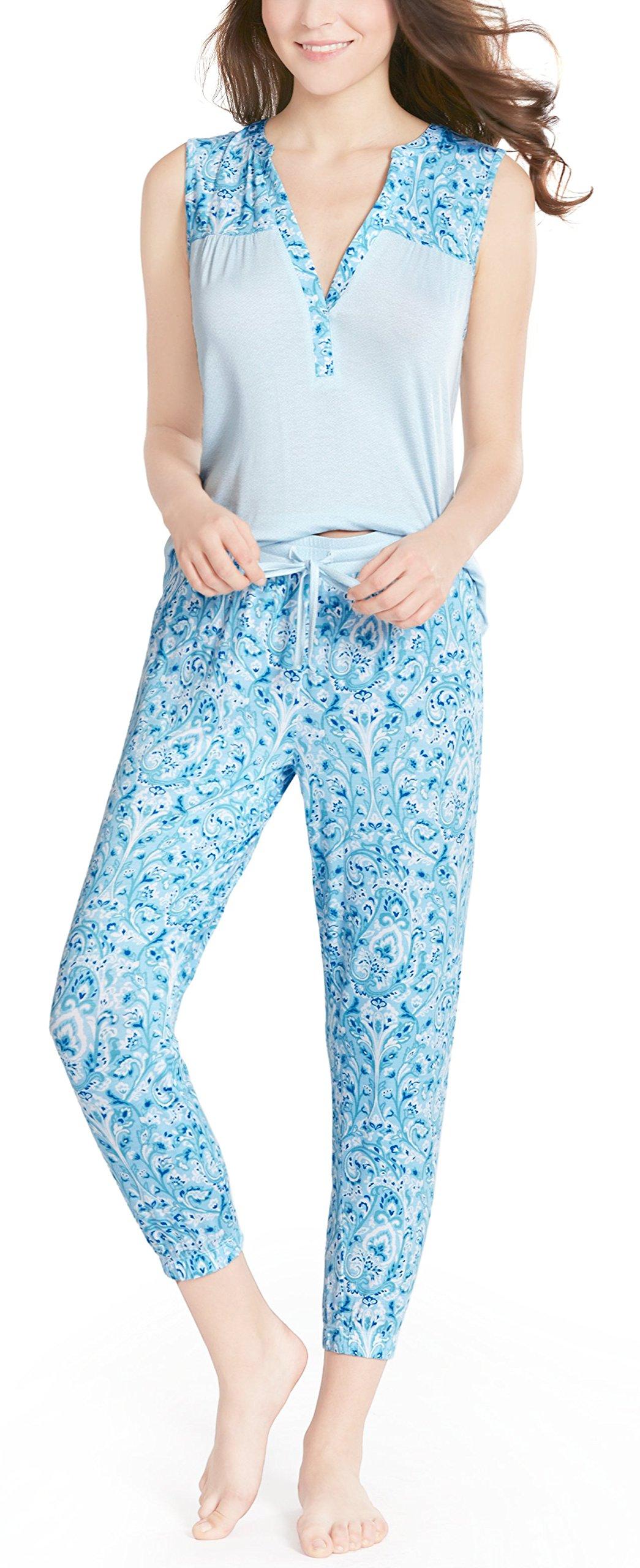Summer Pajamas Women, Stylish Print Ladies Pajama Set - Pjs Woman Button Sleeveless Jogger Capri Lounge Pants Sweet Paisley XL
