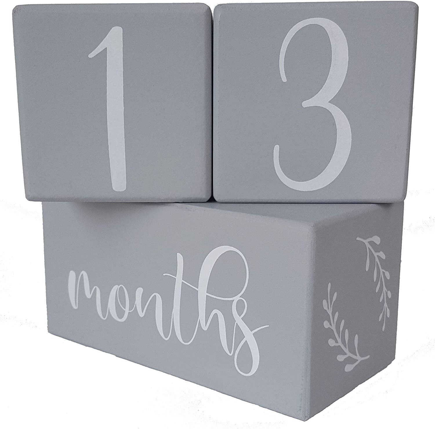Premium Milestone Age Blocks by Frolickly – Wood Set with Weeks Months Years Grade – Gender Neutral Gray is Perfect for a Baby Boy or Girl – Baby Showers, Photo Props, and Pregnancy Countdowns