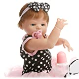 SanyDoll Reborn Baby Doll Soft Silicone 22inch 55cm Magnetic Lovely Lifelike Cute Lovely Baby Black beautiful princess dress