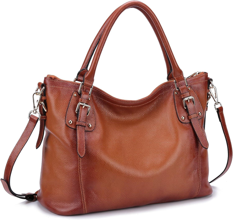 Yafeige Women's Vintage Soft Genuine Leather Tote Shoulder Bag Top Handle Bag Cross body Handbags Satchel for Ladies