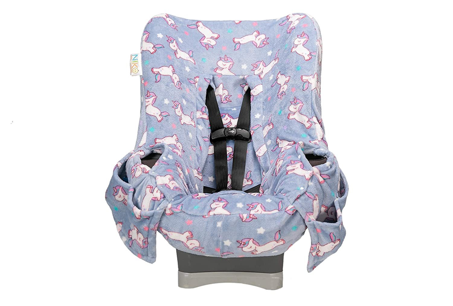 Niko Easy Wash Children's Car Seat Cover & Liner - Unicorn Minky - Perfect for Cooler Weather-Universal Fit -Crash Tested -Waterproof SEAT Bottom -Mess Protection -Easy to Clean - Machine Washable