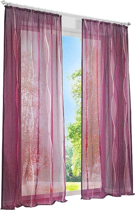 1er de Pack Voile cortinas con impresión de ondas Diseño Cortina permeable Luz cortinas, Violett mit Kräuselband, BxH 140x245cm: Amazon.es: Hogar