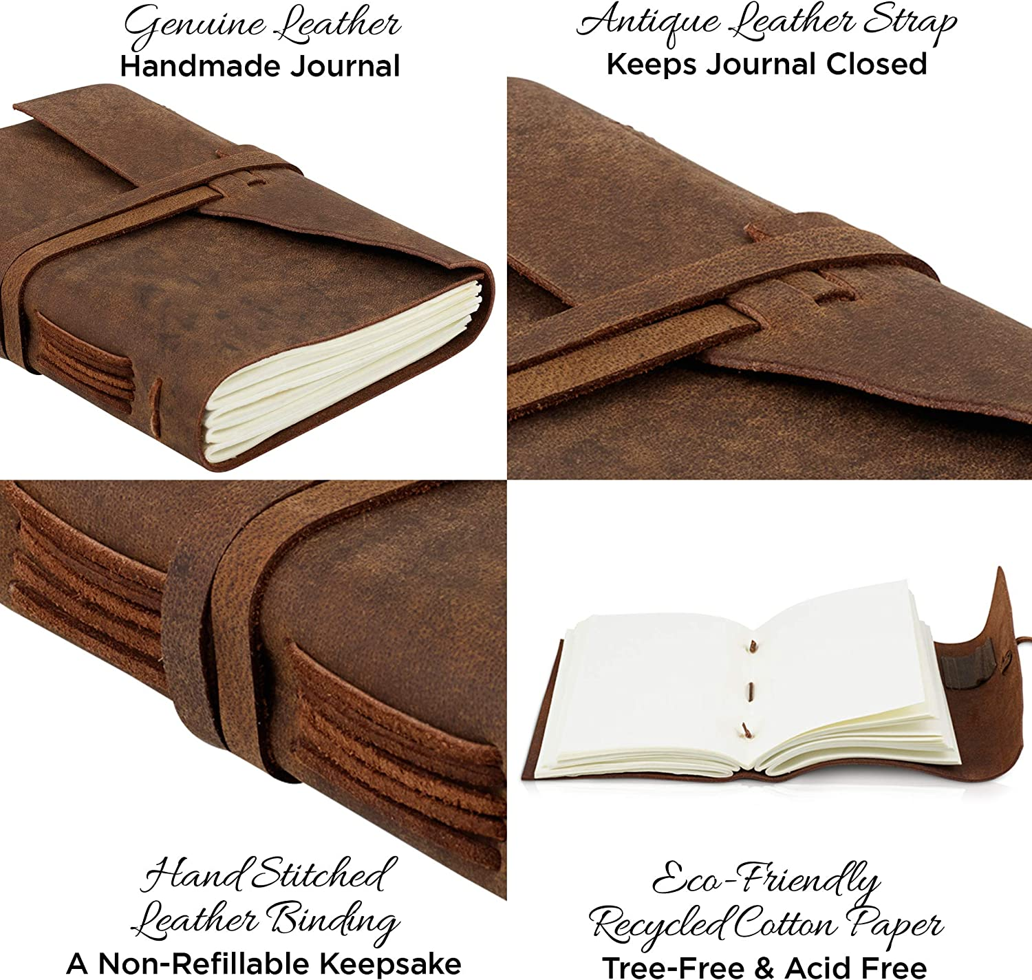 Travel Diary And Art Sketchbook Leather Bound Daily Unlined Notebook To Write In Handmade Leather Journal Notepad Best Gift For Men And Women With A Gift Box Included Cotton Paper 7x5 Inches