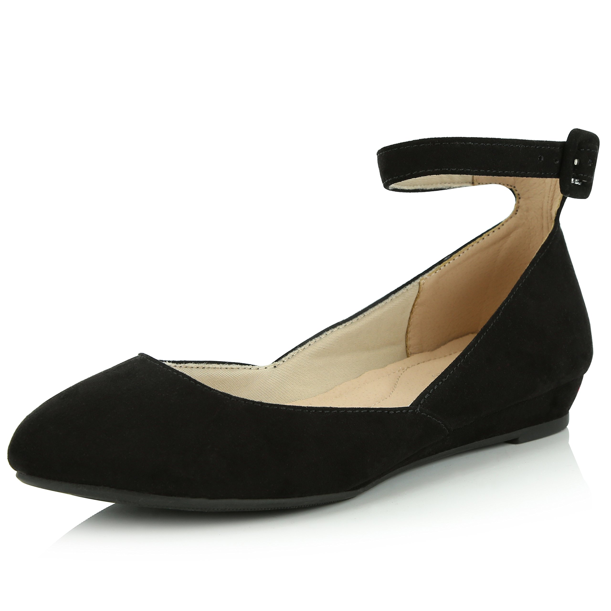 DailyShoes Women's Fashion Adjustable Ankle Strap Buckle Pointed Toe Low Wedge Flat Shoes, Black Suede, 8 B(M) US