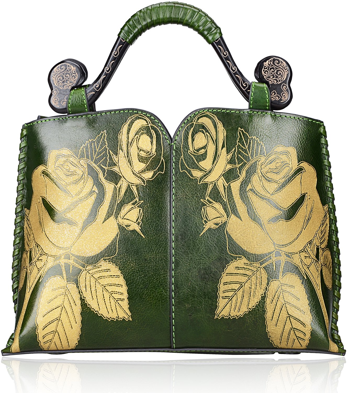 Pijushi Designer Floral Handbag Women's Genuine Leather Tote Flower Purses 6026 (Small Size, Green Rose)