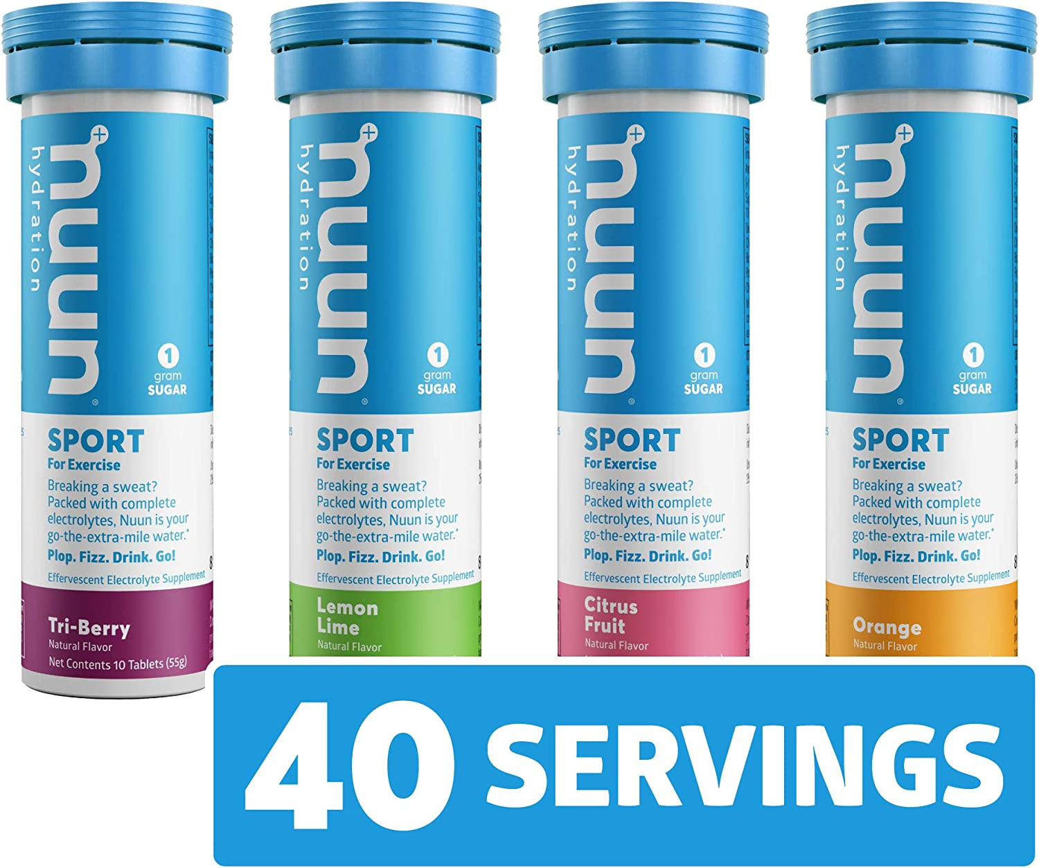 Nuun Sport: Electrolyte Tablets, Effervescent Hydration Supplement, Citrus Berry Mixed Flavor Pack, Box of 4 Tubes (40 servings), Sports Drink for Replenishment of Essential Electrolytes