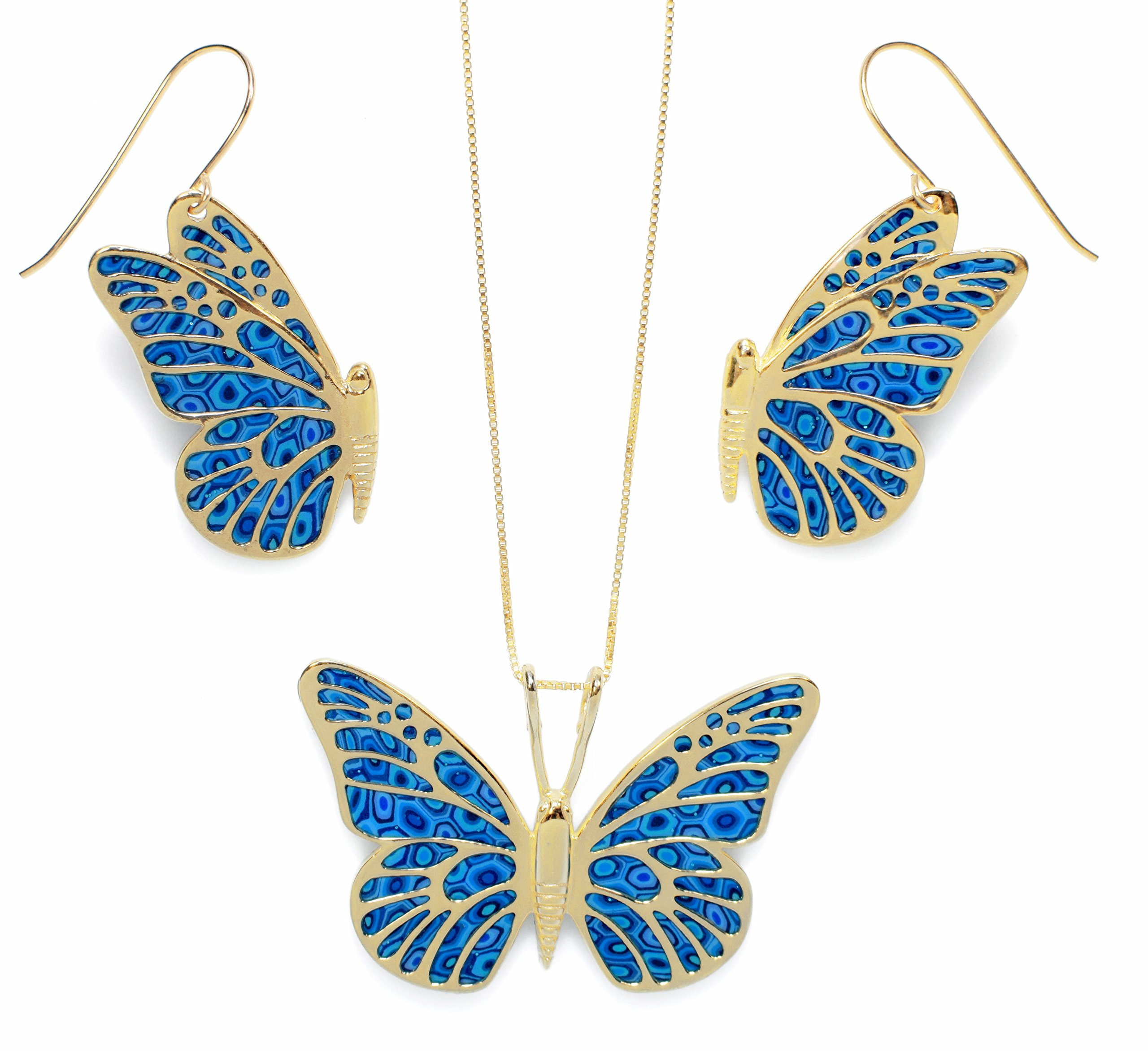 Gold Plated Sterling Silver Butterfly Necklace Pendant and Dangle Earrings Blue Polymer Clay Jewelry Set, 16.5'' Gold Filled Chain