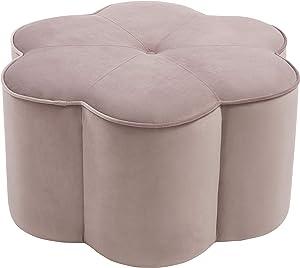 Meridian Furniture Daisy Collection Modern | Contemporary Velvet Upholstered Flower Shaped Ottoman, 32
