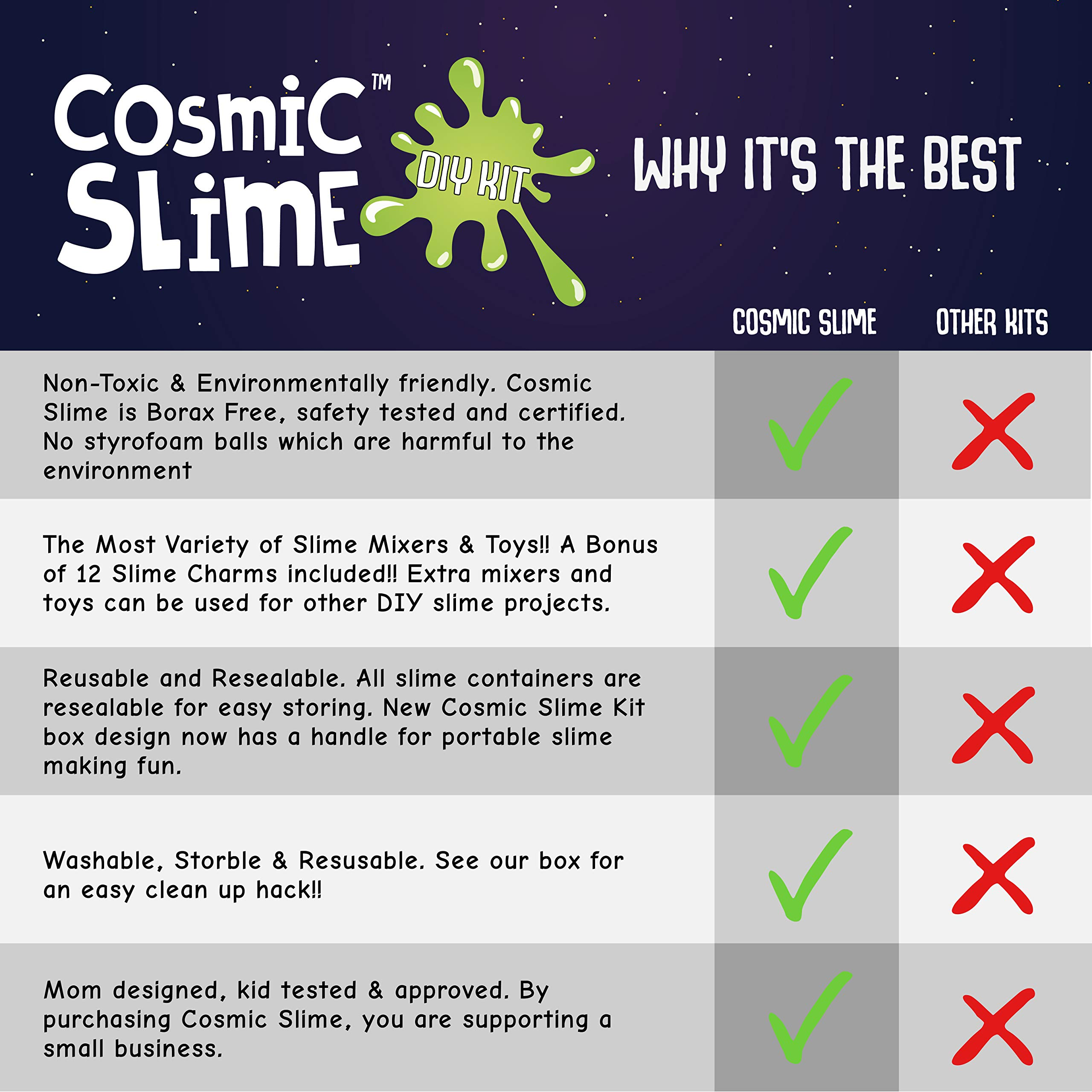 Cosmic Slime Kit - Jumbo 55 Piece Set, Slime Supplies, Make Your Own Slime Kit, Slime Charms, Non-Toxic Clear Putty, Slime Kit for Girls and Boys, Sensory Toy and Slime, Great Gift for Girls and Boys by Stardust & Jupiter (Image #4)