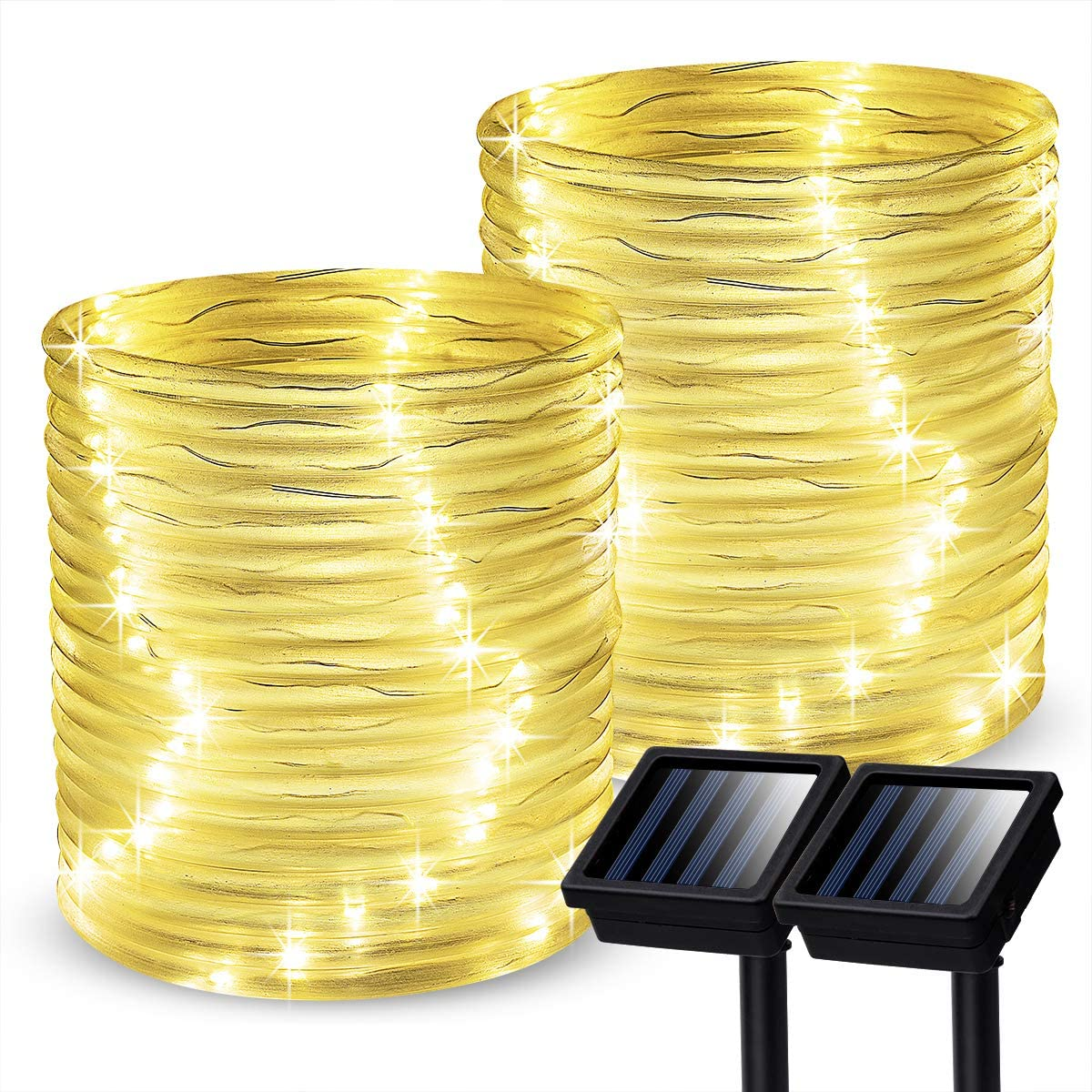 GIGALUMI Outdoor Solar Rope Lights, 2 Pack Solar Powered Outdoor Waterproof Tube Light with 100 LED, 35.7 feet 8 Modes Copper Wire Fairy Lights for Garden Fence Patio Yard(Warm White)