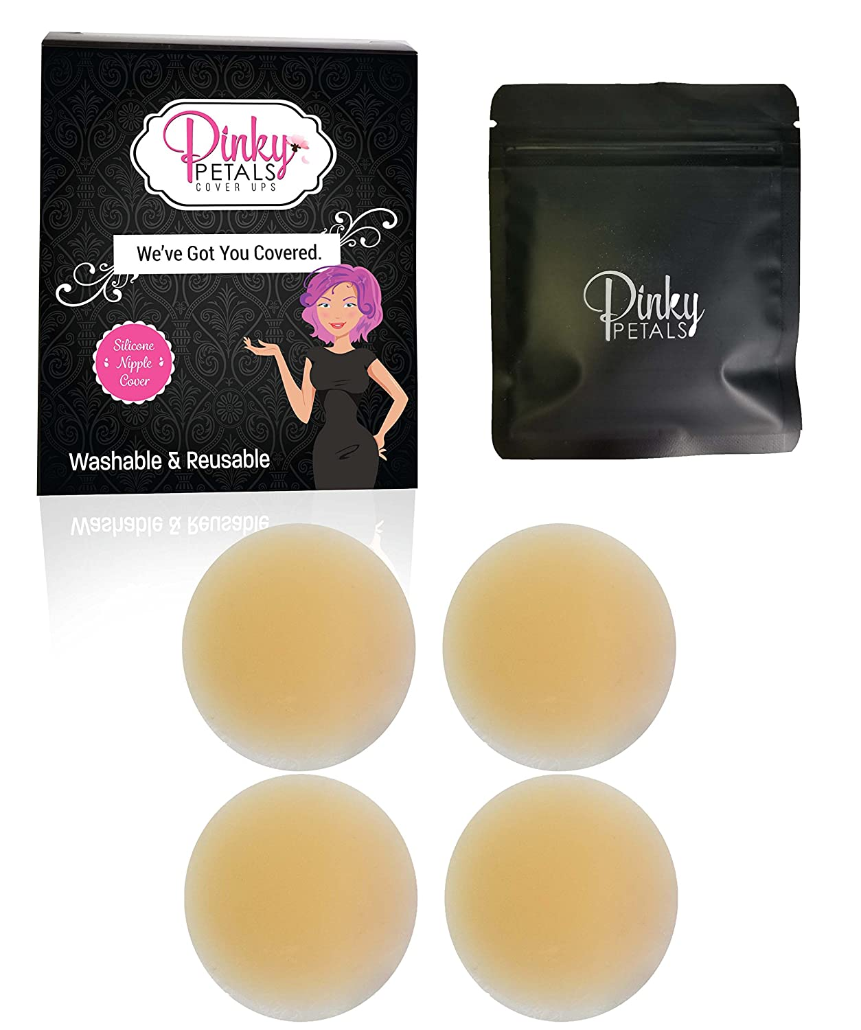 Pinky Petals Women's Nipple Cover Thin Pasties, Reusable Silicone Breast Sticky, Nude
