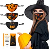 Halloween Face Mask, 3PCS Kids Face Masks Reusable & Breathable with Pumpkin Halloween Pattern Adjustable Elastic Ear…
