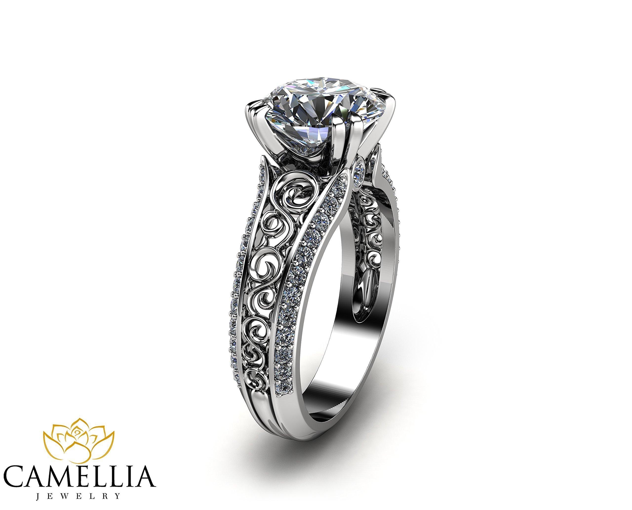 2CT Moissanite Engagement Ring Handmade 14K White Gold Engagement Ring Diamond Moissanite Ring