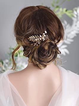 Kercisbeauty Wedding Bridal Bridesmaids Tiny Cute Leaf Crystal Beads Hair Comb Slide Headpiece Long Curly Bun Hair Accessories for Prom Silver