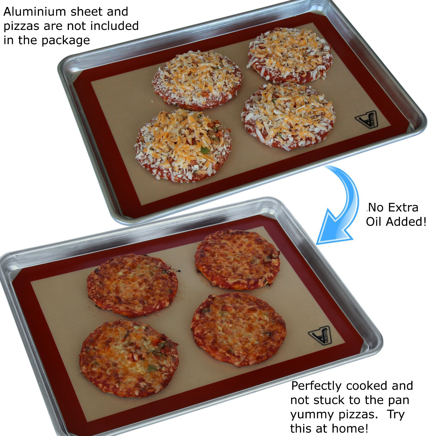 Silicone Baking Mat - Set of 3 Half Sheet (Thick & Large 11 5/8'' x 16 1/2'') - Non Stick Silicon Liner for Bake Pans & Rolling - Macaron/Pastry/Cookie/Bun/Bread Making - Professional Grade Nonstick by Velesco (Image #5)