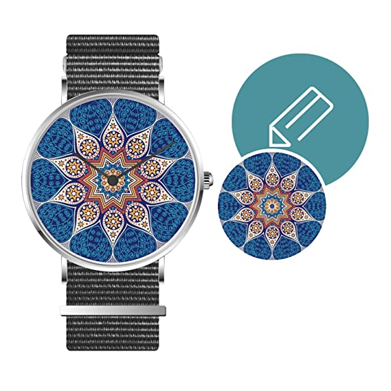 Relojes Unisex Personalizados colección única con Imagen personalización DIY Zafiro Cristal OTAN Banda de Cuero Regalo para niño Amigo Novios Hombres Amante ...
