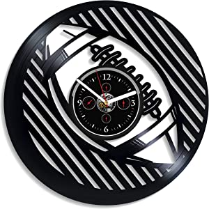 Kovides Birthday Gift Retro Wall Clock Large Football Sport Art Clock 12 Inch Football Wall Clock Sport Wall Clock Vintage Vinyl Record Football Gift for Boys New Year Gift Handmade LP Clock