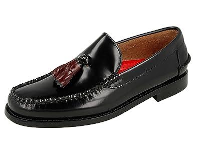 KERRIMAN Castellanos Hombre Negro con BORLAS Burdeos: Amazon.es: Zapatos y complementos