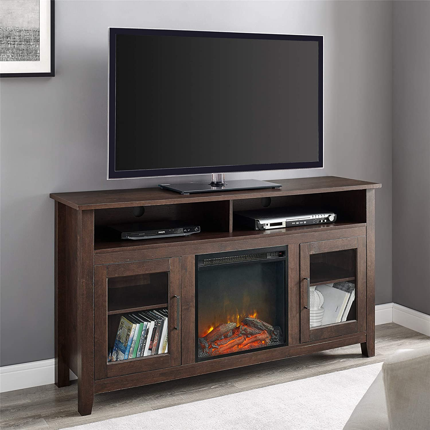 "WE Furniture Tall Rustic Wood Fireplace Stand for TV's up to 64"" Living Room Storage, Brown"