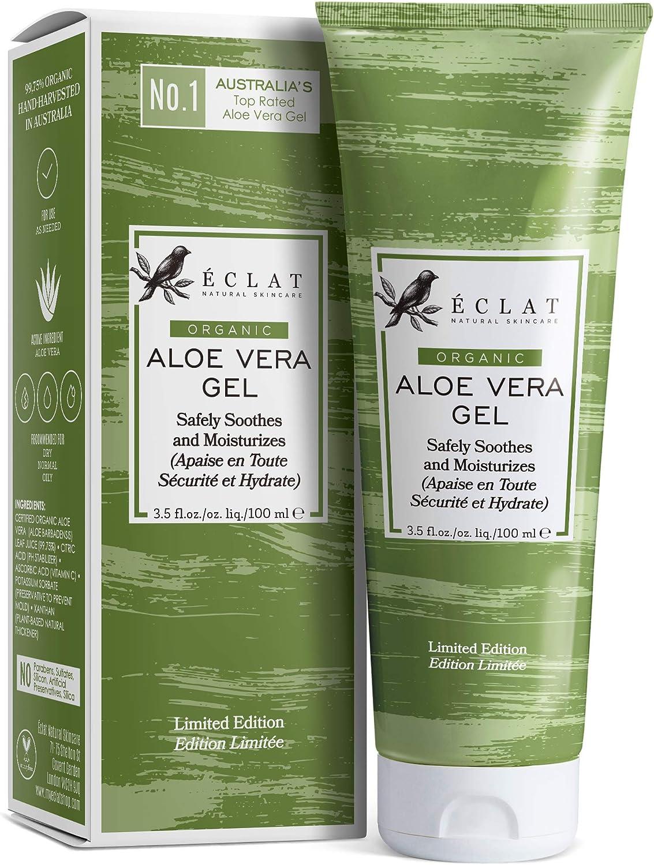 Gel Aloe Vera 100% Eclat – Gel Natural de Aloe Vera Cara Cuerpo y Cabello con Vitamina C y Aloe Vera Orgánico 100% Aceite Aloe Vera Barbadensis en un Gel de Aloe Vera Puro Suave y de Rápida Absorción