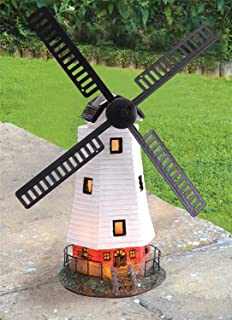 Exceptionnel Traditional Solar Powered Windmill Wind Powered LED Garden Ornament