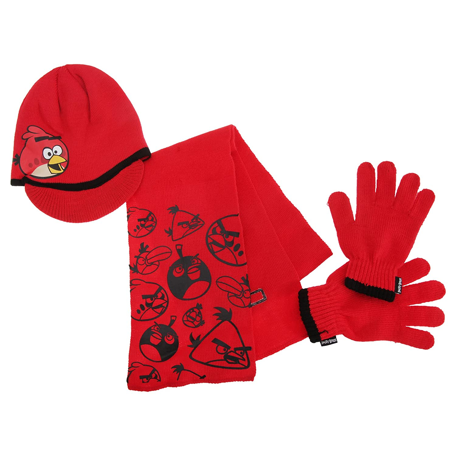 Angry Birds Childrens Boys Knitted Winter Hat, Gloves And Scarf Set (3-5 years) (Red) UTGL417_1