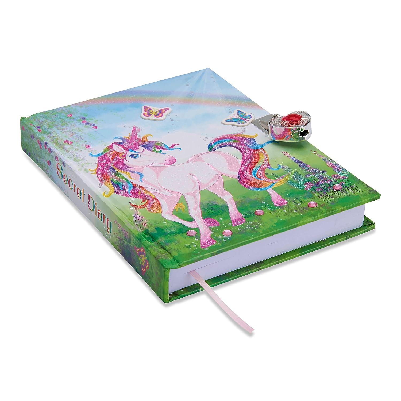 Glittery Diary for Children Lockable Diary With Padlock /& Keys Lucy Locket Magical Unicorn Kids Secret Diary