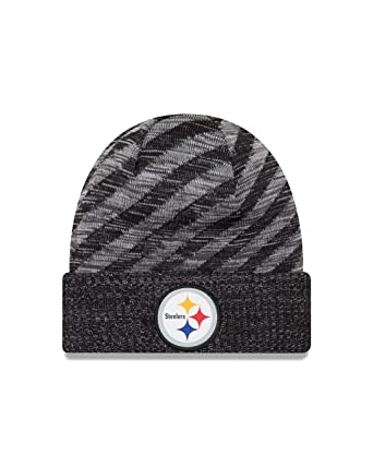b7530aa2de9996 Amazon.com: New Era Pittsburgh Steelers Knit On Field 18 TD Winter Hat Grey/ Black Size One Size: Clothing