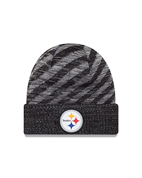 762b6c70 Amazon.com: New Era Pittsburgh Steelers Knit On Field 18 TD Winter Hat Grey/ Black Size One Size: Clothing