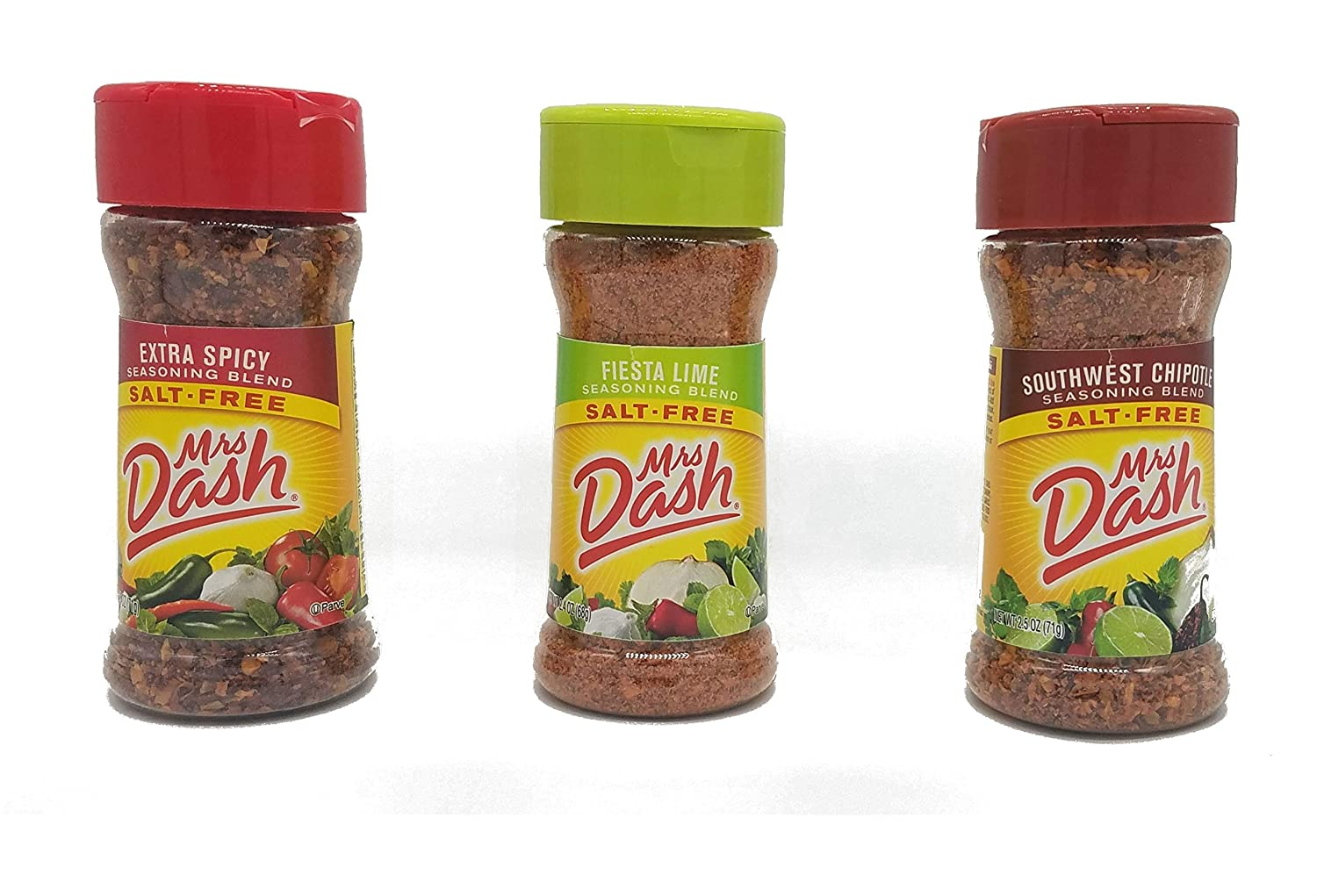 Mrs Dash Salt Free Seasoning Extra Spicy, Fiesta Lime and Southwest Chipotle Variety Pack