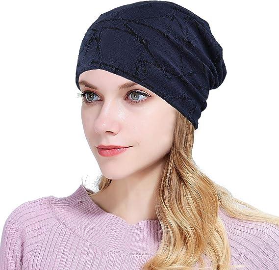 Women's Cotton Beanie Chemo Hat Slouchy Soft Turban Head Wrap Cap Hair Loss Gift