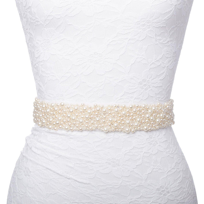 Redowa Pearl Beaded Wedding Dress Bridal Sash Belt (Ivory pearl&satin)