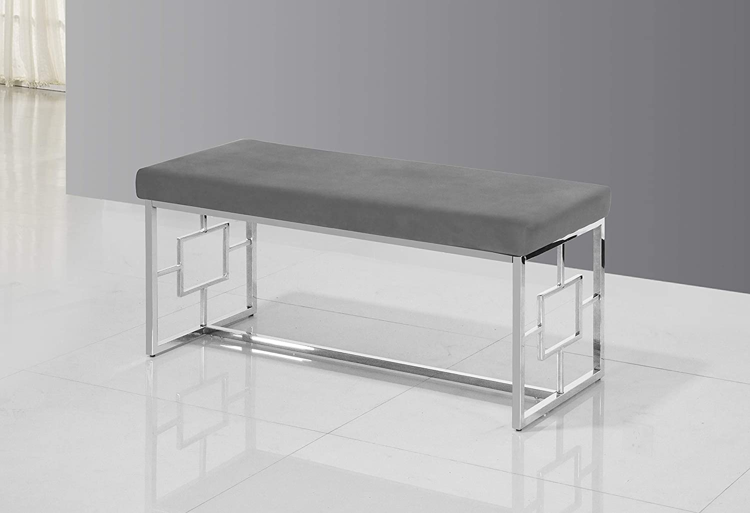 Best Master Furniture Emery Velour Bench with Stainless Steel Frame, Grey