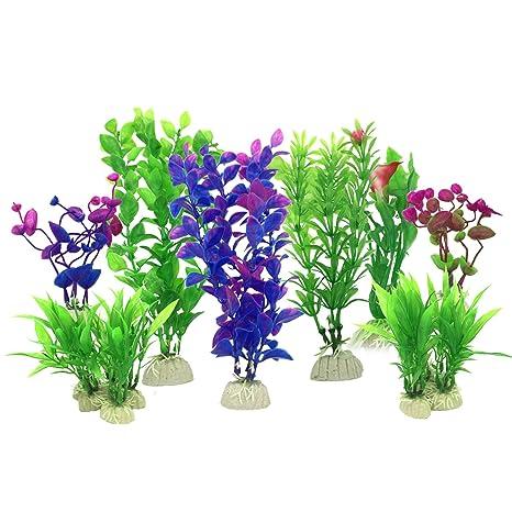PietyPet Plantas acuáticas Artificiales, 16 Piezas Plantas Pequeño de Acuario Decoraciones plásticas del Tanque de